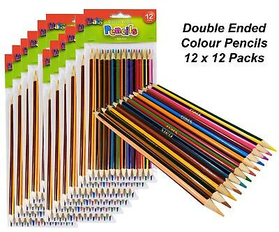 12 Packs x 12 Double Ended Colour Pencils Art Colouring Coloured Drawing Kids