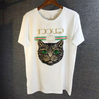 2018 Neues Damen Loose embroidery Sequins Cats Round neck  T-shirts