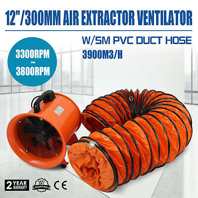 """Chemical 12"""" Extractor Fan Blower Ventilator +5M Duct Hose Electrical Air Mover"""