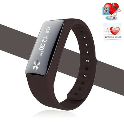 (Brown) - Bluetooth Smart Bracelet Heart Rate Monitor Pedometer Sports