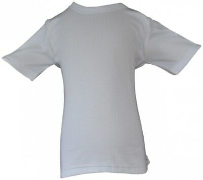 (9-11 YEARS) - Boys Brushed Thermal Short Sleeve Vest Top White. WOH