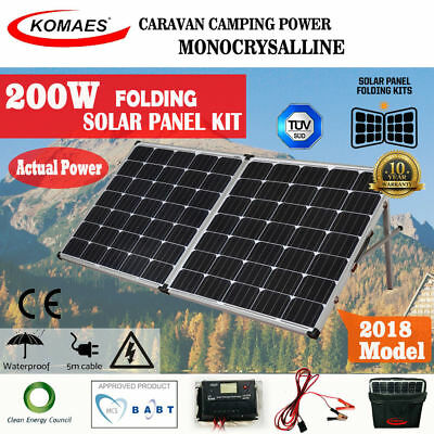 Komaes 200W Solar Panel Kit Mono Camping Power Caravan Boat Charging 12V Folding