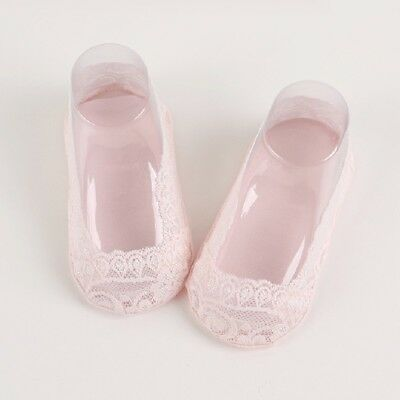 Pink Non-Slip No Show Lace Socks Invisible Cotton Low Cut Ankle Socks M 1-3T