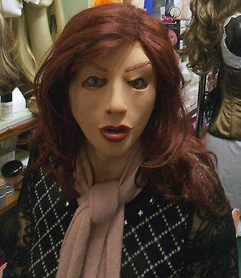 REALISTIC FEMALE MASK with chestnut hair attached