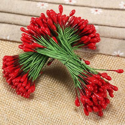 100pcs Red Flower Stamen Double Sided Green Wire Christmas Wedding Craft DIY