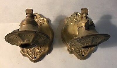 Antique pair of brass ornate wall sconces paddle switch holes for prisms