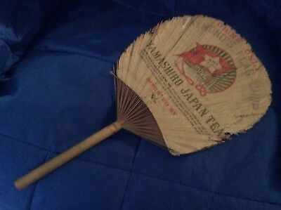 Japanese Vintage Antique Paper Bamboo Fan - Yamashiro Tea