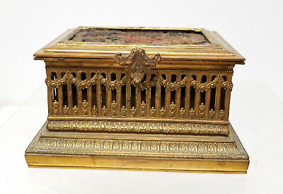 Antique French Gilt Bronze Casket Jewelry Box Embroidery Ormolu Architectural