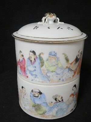 Antique Asian Chinese Stacking Dish Bowls Box Calligraphy Immortals 2 Piece