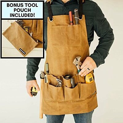 Heavy Duty Utility Work Shop Waxed Canvas Bib Apron with Tool and Chest Pockets
