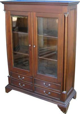 Solid Mahogany Glazed Cabinet 2 Doors 4 Drawers H140 x W99 x D38 cm