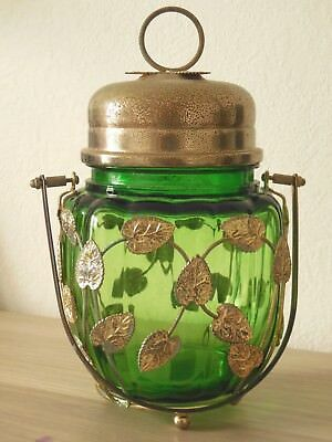 Vintage French Green Glass & Gilded metal Candy / Cookie Jar Basket musical box