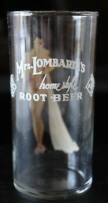 SCARCE 1920s MRS. LOMBARDI'S ORIGINAL ADVERTISING ROOT BEER 5 3/8 GLASS NR