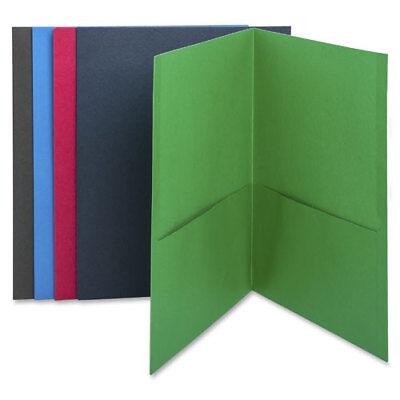 "MyOfficeInnovations 2-Pocket Folders 125 Sht Cap Letter 12""x9"" 25/BX BLK 3254228"