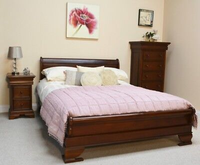 Solid Mahogany French Sleigh Bed with low footboard 3' 4'6 5' or 6' New B010