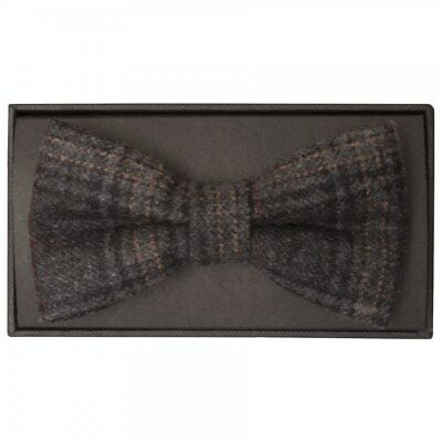 Ties R us Handmade Dark Grey Check Mens Tweed Bow Tie Tweed Dickie Bow