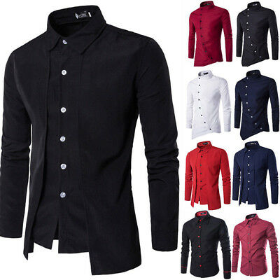 Luxury Mens Classic Long Sleeve Shirt Formal Casual Smart Slim Fit Stylish Tops