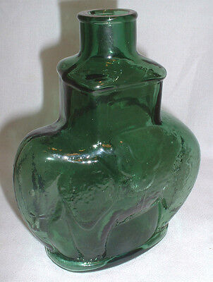 "Vintage 1970's Forest Green ""Circus Elephant"" Decanter By Downer Glass Works, NJ"