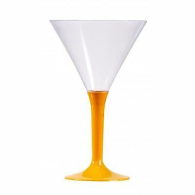 12 x 70ml Sabert Mozaik Orange Stem Clear Plastic Cocktail Martini Cups Glasses