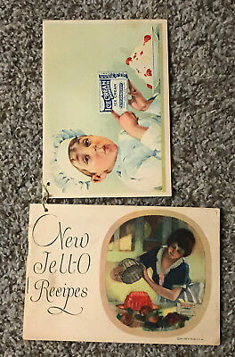 1926 Vintage Jello  Recipe Cook Book Pamphlet w/ Attached Ice Cream Booklet