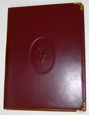 """Vintage 1980s Authentic Cartier Burgundy Leather Notebook, 12"""" x 9"""" Lightly Used"""