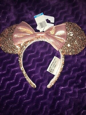 Disney Parks Rose Gold Sequin Minnie Mouse Ears