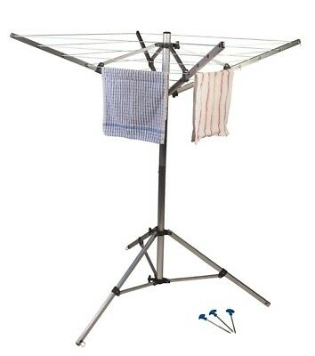 Kampa 4 Arm Rotary Washing Line c/w Ground Pegs & Carry Bag