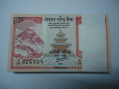 Nepal 5 Rupees 2012 P 69 Rastra Bank Unc Lot 100 Pcs 1 Bundle B