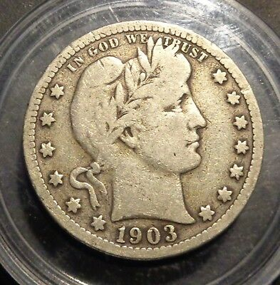 Very nice nearly Fine Tougher date 1903 S Barber/Liberty silver 25C quarter