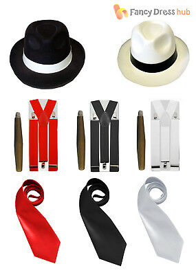 Mens Gangster Fancy Dress Kit Hat Tie Braces + Cigar 20s Pimp Adult Costume