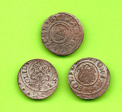 Latvia Sweden Germany Schilling RIGA Christina 1632-1654 Lot of 3 coins 530