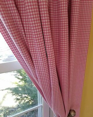 "4 Pottery Barn Kids Pink Gingham Blackout Curtain Panels Drapes 44""x 84"""