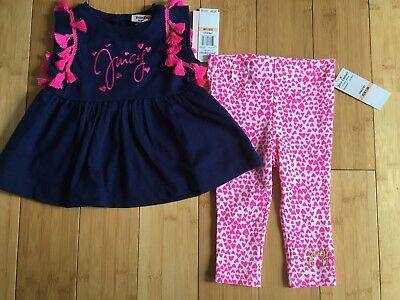 NWT Juicy Couture Baby Girl Outfit Top Leggings ~ Navy Pink ~ 12 months