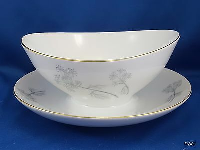 Eschenbach Queen Annes Lace Gravy Boat Attached Underplate Gray Gold Trim W1455