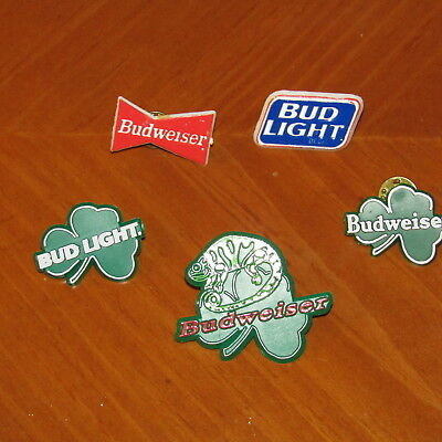 Budweiser ,bud Light& Bud Lizard Beer Pins  Hat, Lapel,  Waitstaff, St Patricks