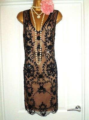 1920s Style Gatsby Flapper Charleston Sequin Beaded Dress Size 10 NEW