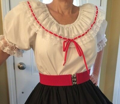 White Square Dance Blouse With Lace And Red String Tie