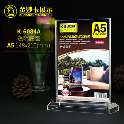 2X A6 Menu Holder Sign Ticket Holder Coffee Shop Display Clear Acrylic Perspex