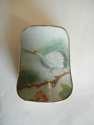 Antique Chinese Porcelain Shard Box with Crane on Branch Polychrome