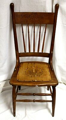 Antique Oak Pressed Back Hand-Turned Chair