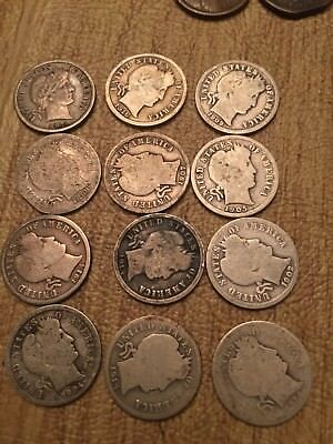 Lot of 12 Silver Barber Dimes FINE or Better