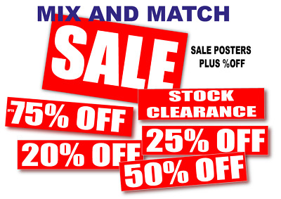 Sale posters and Salesigns for shops with %off 14 poster pack  20%/25%/30% etc