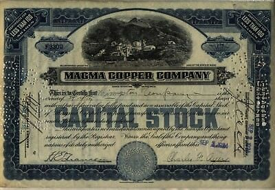 Magma Copper Company Stock Certificate Maine Mining Blue