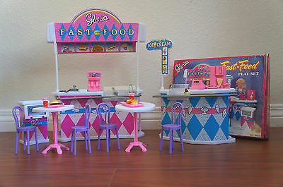 GLORIA Dollhouse FURNITURE SIZE FAST FOOD STAND Cashier Ice-Cream stand Playset