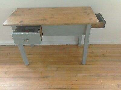 Shabby Chic Vintage Small Desk Table Painted Legs Two Drawers