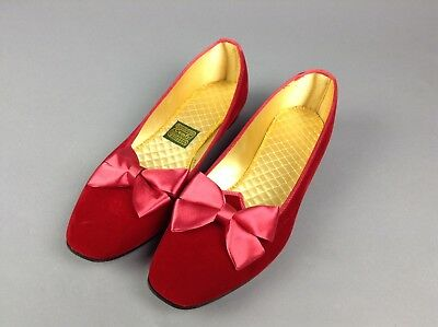 Vintage 1950's Red Velvet Daniel Green Slippers