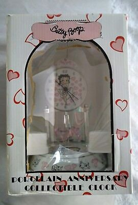Betty Boop Porcelain Anniversary Collectible Clock MIB