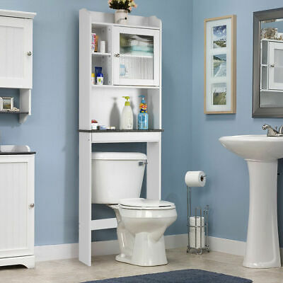 Over-the-Toilet Bath Cabinet Bathroom Space Saver Storage Organizer White New