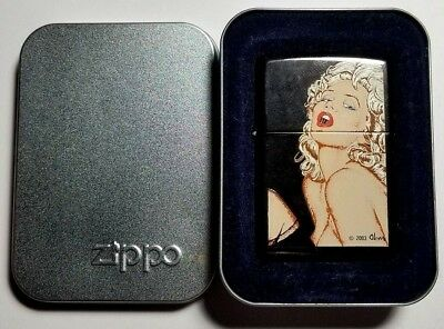 ZIPPO Lighter OLIVIA PIN-UP Girl-C 04/2004-NEW OLD STOCK-COMPLETE-NUDE TOPLESS