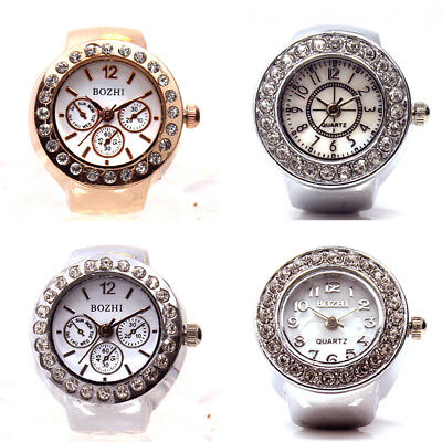 Women Men Dial Quartz Analog Creative Steel Elastic Crystal Finger Ring Watch